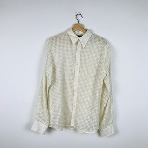 Vintage Cream Linen Blend Button Down Shirt M